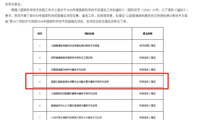 江苏路俊抗凝冰系列项目,获国家科学技术奖励提名