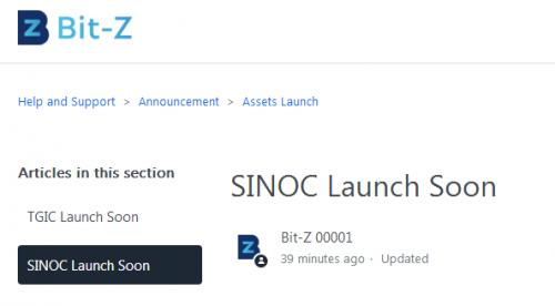 Sinoc公有链上线Bit-Z平台 即将开通交易