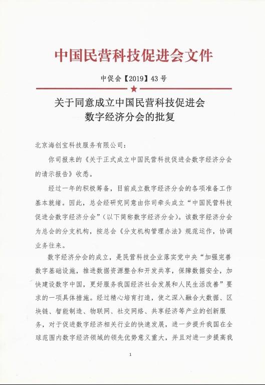 践行国家战略•缔造数字文明 ——中国民营科技促进会数字经济分会成立