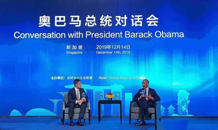 美国前总统奥巴马会见高田工贸董事长谭干荣