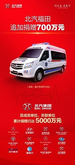 北汽福田追加捐赠700万元 北汽集团累计捐赠已达5000万元