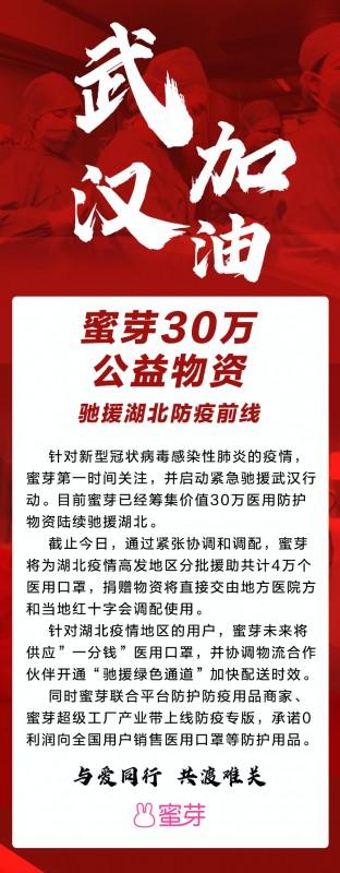 """蜜芽向湖北用户供应""""一分钱""""口罩 首批驰援物资达30万元"""