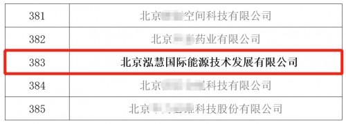 泓慧能源入围北京专精特新企业名单