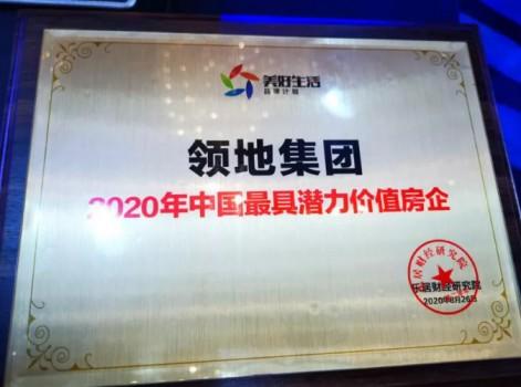 """领地集团荣膺""""2020年中国最具潜力价值房企""""荣誉"""