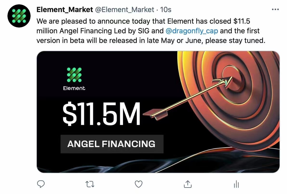 NFT资产聚合拍卖平台Element完成天使轮融资,SIG和Dragonfly领投